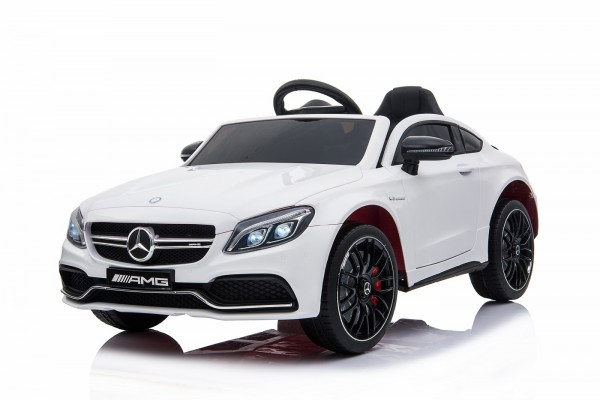 Kinder Elektro Auto Mercede Kinderauto C63 AMG EVA Leder LED USB MP3 Weiss